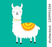 llama alpaca. cute cartoon... | Shutterstock .eps vector #1209951334