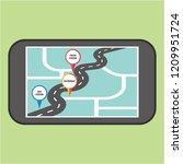 road map direction in mobile... | Shutterstock .eps vector #1209951724