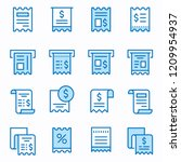 receipt flat line icons. set of ... | Shutterstock .eps vector #1209954937