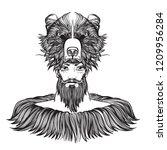 Bearded Man With A Bear Mask....