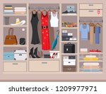 open wardrobe with women's and... | Shutterstock .eps vector #1209977971