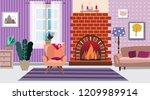 interior with fireplace and... | Shutterstock .eps vector #1209989914