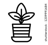 plant pot with a leafy plant... | Shutterstock .eps vector #1209991684