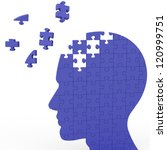 Stock photo head puzzle shows slipping ideas or thoughts 120999751