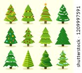 Stock vector winter colorful cartoon christmas tree vector set 1209997591