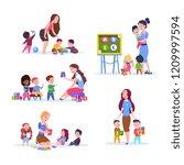 kids in kindergarten. fun... | Shutterstock .eps vector #1209997594