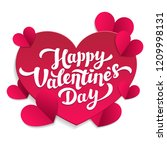 Stock photo valentine s day paper cut card th of february happy valentines day lettering with pink cut 1209998131