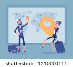 travel planning at map. man and ... | Shutterstock .eps vector #1210000111