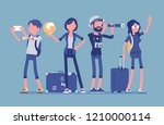 travelers group with luggage.... | Shutterstock .eps vector #1210000114