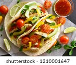 tasty healthy tacos with... | Shutterstock . vector #1210001647