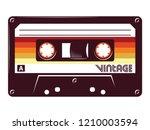 retro vintage cassette tape... | Shutterstock .eps vector #1210003594