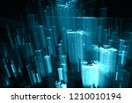blue city in cyberspace ... | Shutterstock . vector #1210010194
