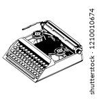 3d model of typewriter on a... | Shutterstock .eps vector #1210010674