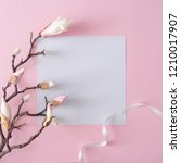 white and pink flowers on... | Shutterstock . vector #1210017907