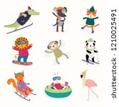 set with cute animals in winter ... | Shutterstock .eps vector #1210025491