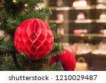 decorated christmas tree red... | Shutterstock . vector #1210029487