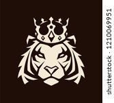 tiger in crown looking danger.... | Shutterstock .eps vector #1210069951