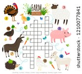 crossword for kids with farm... | Shutterstock .eps vector #1210077841