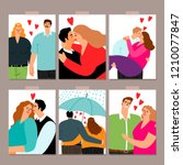 couple in love  hugging and... | Shutterstock .eps vector #1210077847