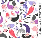 pattern with cartoon mermaids... | Shutterstock .eps vector #1210077871