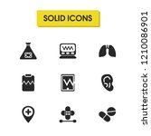 medicine icons set with monitor ...
