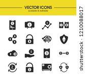 crypto icons set with bitcoin ...