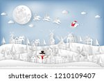 paper art and cut  craft style... | Shutterstock .eps vector #1210109407