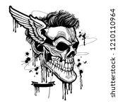 skull illustration with wing... | Shutterstock .eps vector #1210110964