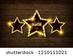 large wooden star with a large... | Shutterstock .eps vector #1210111021