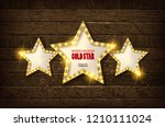 large wooden star with a large... | Shutterstock .eps vector #1210111024