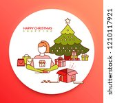 happy christmas shopping. a... | Shutterstock .eps vector #1210117921