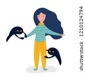 sad depressed girl pulling... | Shutterstock .eps vector #1210124794