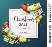christmas sale banner with... | Shutterstock .eps vector #1210132237
