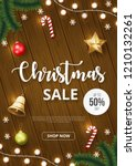 christmas sale banner with... | Shutterstock .eps vector #1210132261