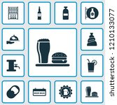 alcohol icons set with bottle... | Shutterstock .eps vector #1210133077