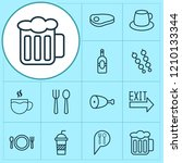 restaurant icons set with... | Shutterstock .eps vector #1210133344
