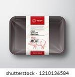 fine quality pork meat.... | Shutterstock .eps vector #1210136584