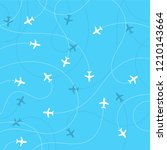 airplane destinations seamless... | Shutterstock . vector #1210143664