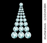 diamond christmas tree  glowing ... | Shutterstock .eps vector #1210144384