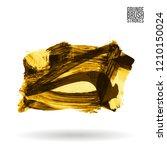 yellow brush stroke and texture.... | Shutterstock .eps vector #1210150024