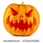 scary halloween pumpkin... | Shutterstock . vector #1210154281