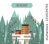 winter mountain landscape with... | Shutterstock .eps vector #1210154701
