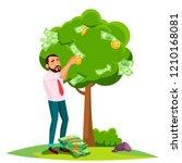 businessman pick an money from... | Shutterstock .eps vector #1210168081