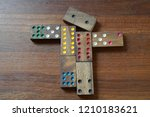 close up   wooden domino pieces ...   Shutterstock . vector #1210183621