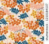 autumn decorative rowanberry... | Shutterstock .eps vector #1210184137