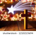 christian wood cross on... | Shutterstock . vector #1210215694