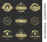 christmas labels and badges... | Shutterstock .eps vector #1210225354
