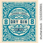 gin label with floral ornaments | Shutterstock .eps vector #1210230001