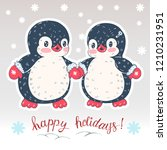 winter illustration with funny... | Shutterstock .eps vector #1210231951