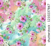 watercolor ornamet of pink... | Shutterstock . vector #1210237867
